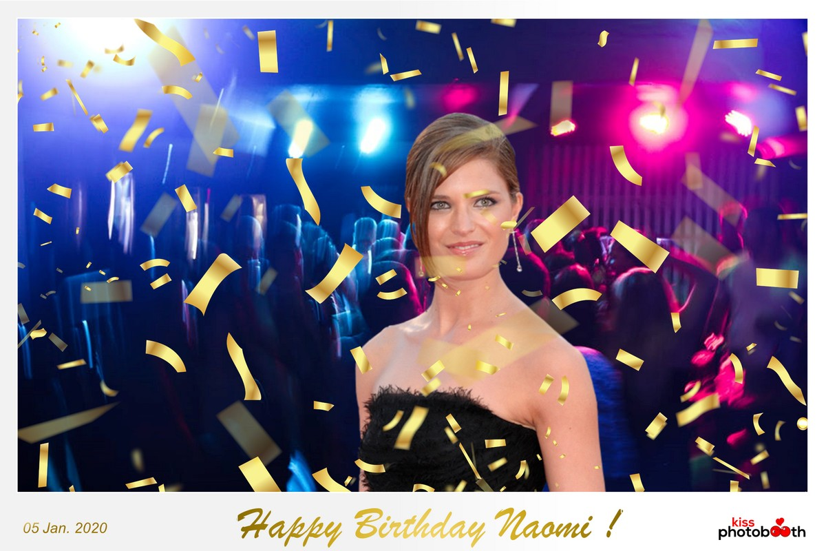 Photo Design Birthday Layout 4 (Golden Confetti - White frame)