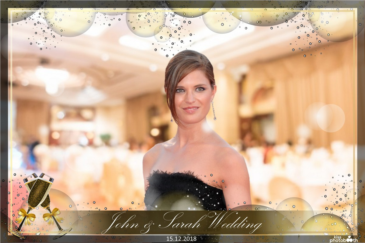 Photo Design Wedding Layout 10 (Golden Bubbles with Glasses)